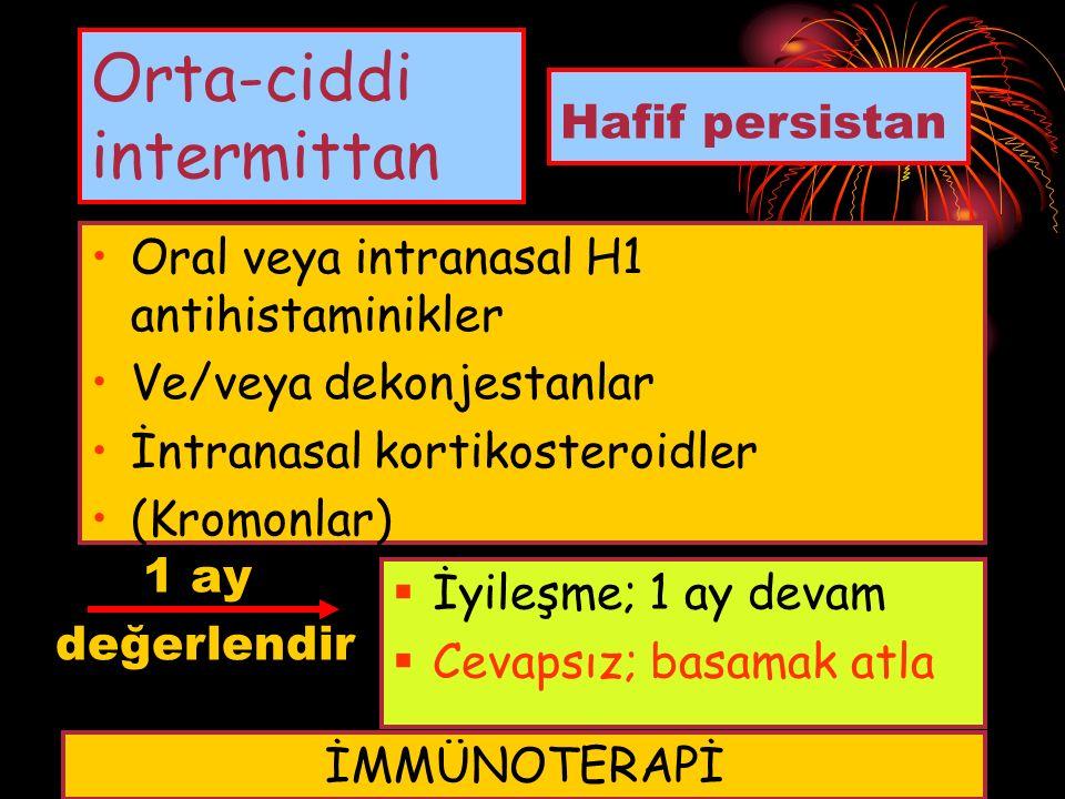 Orta-ciddi intermittan Oral veya intranasal H1 antihistaminikler Ve/veya dekonjestanlar İntranasal kortikosteroidler (Kromonlar) Hafif persistan 1 ay