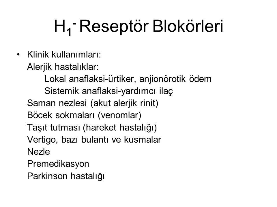 H 1 - Reseptör Blokörleri Klinik kullanımları: Alerjik hastalıklar: Lokal anaflaksi-ürtiker, anjionörotik ödem Sistemik anaflaksi-yardımcı ilaç Saman