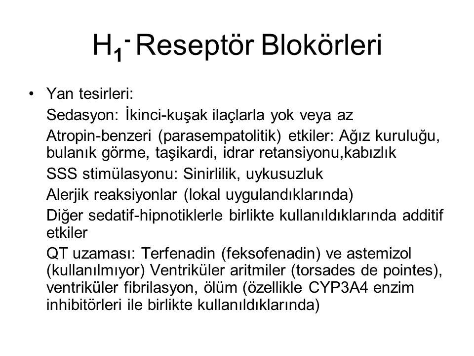 H 1 - Reseptör Blokörleri Yan tesirleri: Sedasyon: İkinci-kuşak ilaçlarla yok veya az Atropin-benzeri (parasempatolitik) etkiler: Ağız kuruluğu, bulanık görme, taşikardi, idrar retansiyonu,kabızlık SSS stimülasyonu: Sinirlilik, uykusuzluk Alerjik reaksiyonlar (lokal uygulandıklarında) Diğer sedatif-hipnotiklerle birlikte kullanıldıklarında additif etkiler QT uzaması: Terfenadin (feksofenadin) ve astemizol (kullanılmıyor) Ventriküler aritmiler (torsades de pointes), ventriküler fibrilasyon, ölüm (özellikle CYP3A4 enzim inhibitörleri ile birlikte kullanıldıklarında)