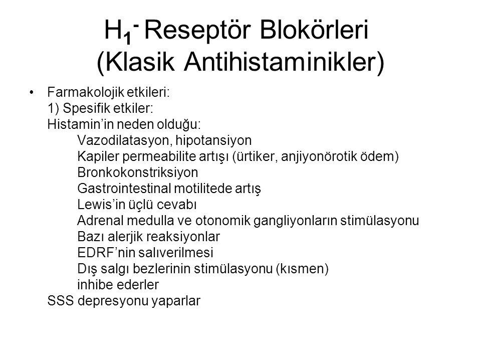 H 1 - Reseptör Blokörleri (Klasik Antihistaminikler) Farmakolojik etkileri: 1) Spesifik etkiler: Histamin'in neden olduğu: Vazodilatasyon, hipotansiyon Kapiler permeabilite artışı (ürtiker, anjiyonörotik ödem) Bronkokonstriksiyon Gastrointestinal motilitede artış Lewis'in üçlü cevabı Adrenal medulla ve otonomik gangliyonların stimülasyonu Bazı alerjik reaksiyonlar EDRF'nin salıverilmesi Dış salgı bezlerinin stimülasyonu (kısmen) inhibe ederler SSS depresyonu yaparlar
