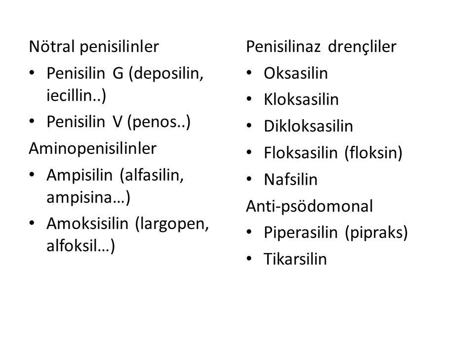 Beta-laktamaz kombinasyonları Ampisilin-sulbaktam (alfasid, duocid, sulbaksit…) Amoksisilin-klavunat (amoklavin, croxilex…) Piperasilin-tazobaktam (tazocin, tazoper) Tikarsin-klavunat Monobaktamlar Aztreonam Ertapenem (invanz) Meropenem (meronem, merosid..) İmipenem (tienam, sılanem) Doripenem (doribax)