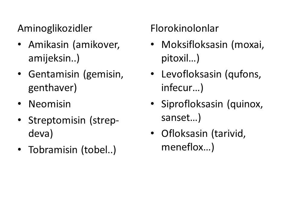 Aminoglikozidler Amikasin (amikover, amijeksin..) Gentamisin (gemisin, genthaver) Neomisin Streptomisin (strep- deva) Tobramisin (tobel..) Florokinolo