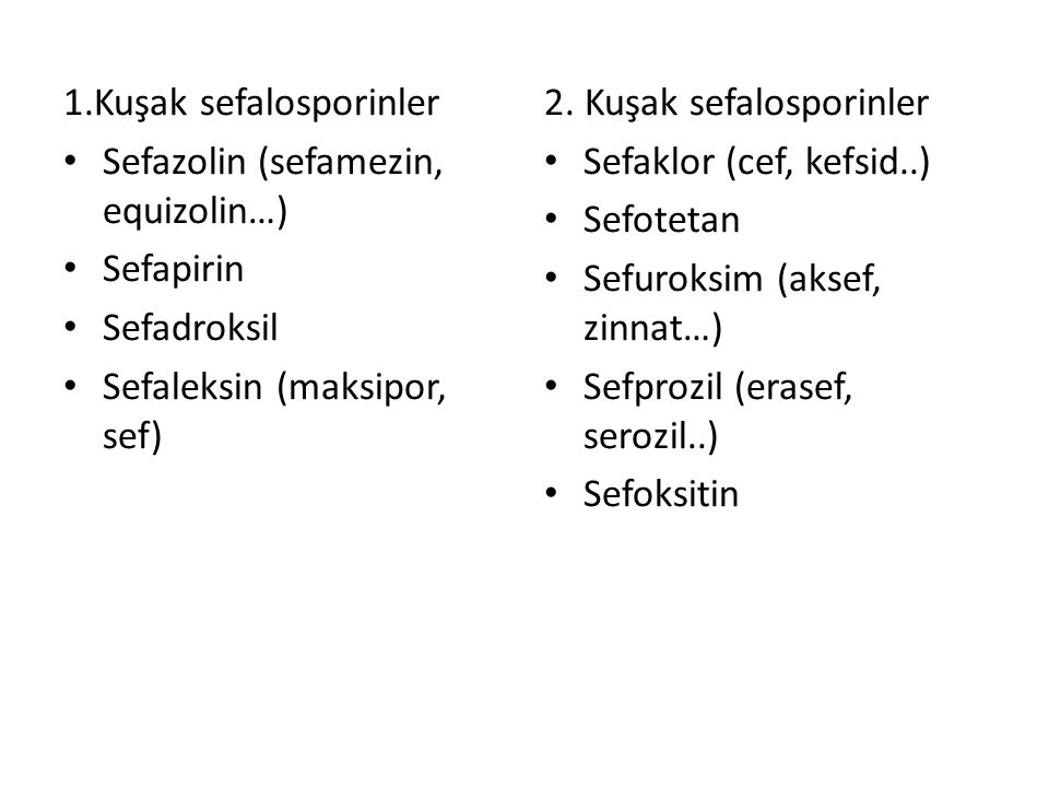 1.Kuşak sefalosporinler Sefazolin (sefamezin, equizolin…) Sefapirin Sefadroksil Sefaleksin (maksipor, sef) 2. Kuşak sefalosporinler Sefaklor (cef, kef