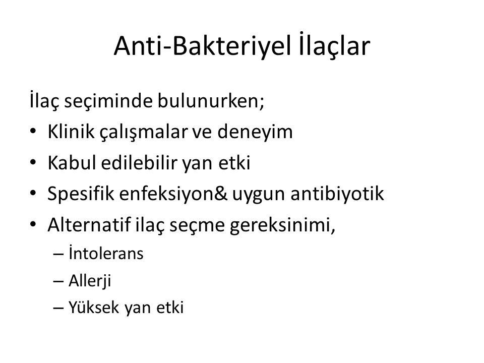Anti-Bakteriyel İlaçlar İlaç seçiminde bulunurken; Klinik çalışmalar ve deneyim Kabul edilebilir yan etki Spesifik enfeksiyon& uygun antibiyotik Alternatif ilaç seçme gereksinimi, – İntolerans – Allerji – Yüksek yan etki