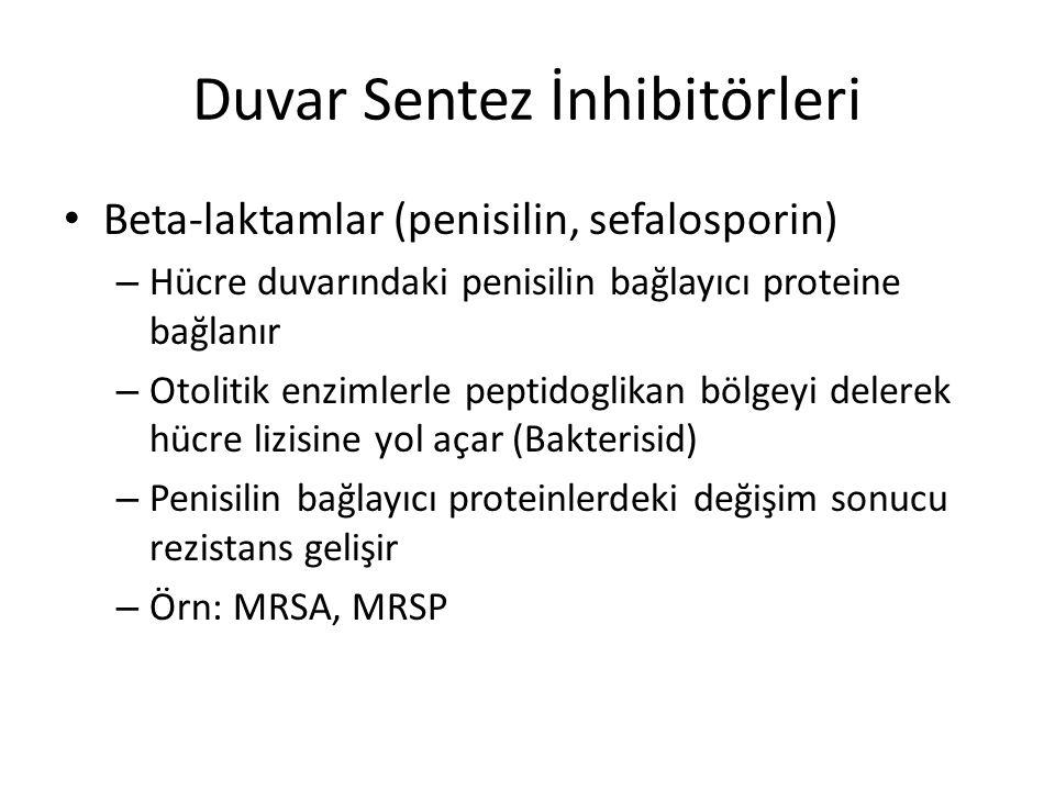 Duvar Sentez İnhibitörleri Glikopeptidler (vankomisin, teikoplanin) – Peptidoglikan bölümün terminal dipeptite (alanin- alanin) bağlanırlar – Hücre duvar yapısını bozarak parçalanmasına ve hücre ölümüne yol açarlar (Bakterisid) – Terminal dipeptitteki değişime bağlı rezistans gelişir (laktat-alanin) Örn: VRSA Daptomisin hücre zarındaki lipofilik alana bağlanarak depolarizasyonla bakteriyi öldürür