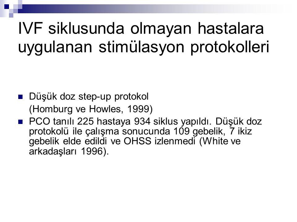 IVF siklusunda olmayan hastalara uygulanan stimülasyon protokolleri Düşük doz step-up protokol (Homburg ve Howles, 1999) PCO tanılı 225 hastaya 934 siklus yapıldı.