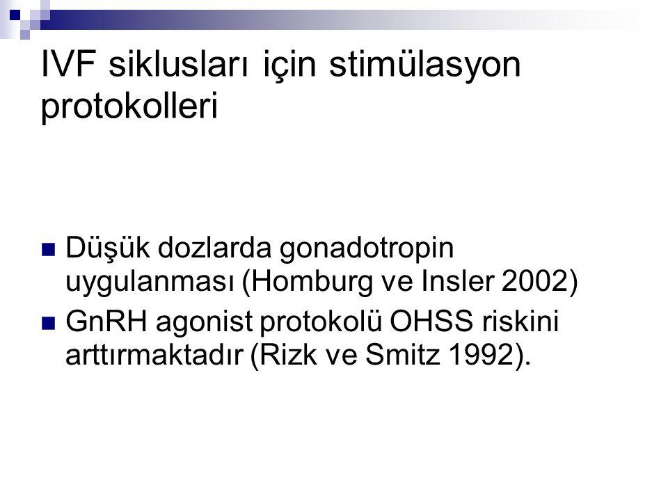 IVF siklusları için stimülasyon protokolleri Düşük dozlarda gonadotropin uygulanması (Homburg ve Insler 2002) GnRH agonist protokolü OHSS riskini arttırmaktadır (Rizk ve Smitz 1992).
