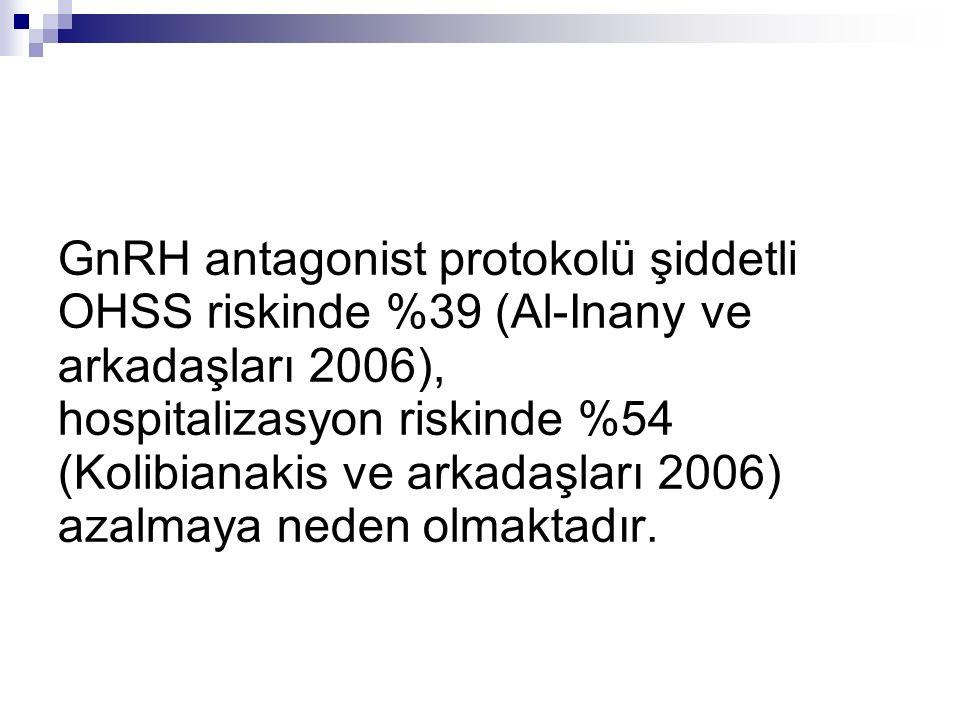 GnRH antagonist protokolü şiddetli OHSS riskinde %39 (Al-Inany ve arkadaşları 2006), hospitalizasyon riskinde %54 (Kolibianakis ve arkadaşları 2006) a