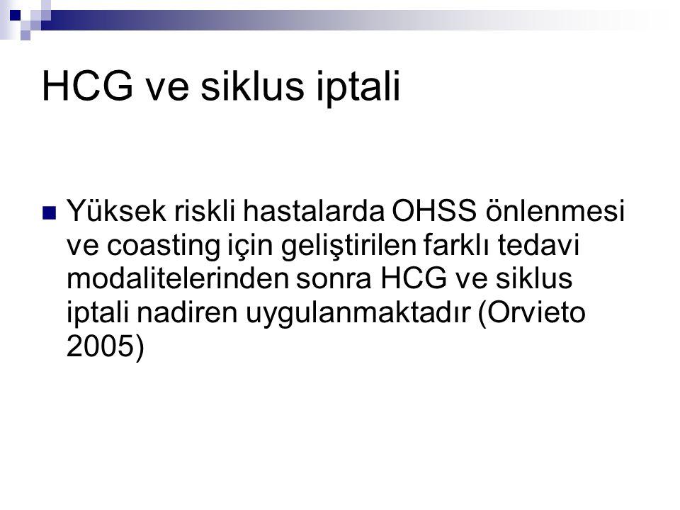HCG ve siklus iptali Yüksek riskli hastalarda OHSS önlenmesi ve coasting için geliştirilen farklı tedavi modalitelerinden sonra HCG ve siklus iptali nadiren uygulanmaktadır (Orvieto 2005)