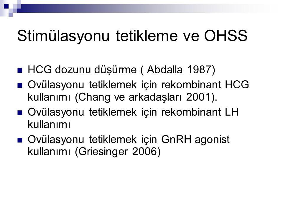 Stimülasyonu tetikleme ve OHSS HCG dozunu düşürme ( Abdalla 1987) Ovülasyonu tetiklemek için rekombinant HCG kullanımı (Chang ve arkadaşları 2001). Ov