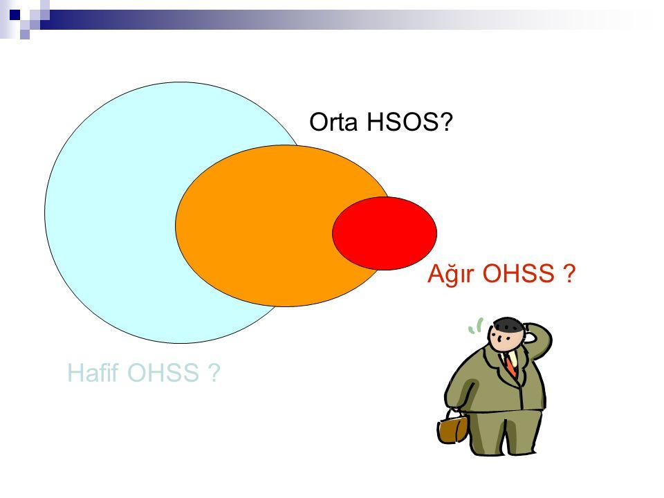 Ağır OHSS insidansı KOH + IVF/ICSI uygulanan hastalarda yaklaşık %1'dir (Delvigne & Rozenberg, 2002) 1987-1999 IVF uygulanan olgu sayısı 6 kat artarken Ağır OHSS insidansı 20 kat artmıştır (Abramov ve ark, 1999)