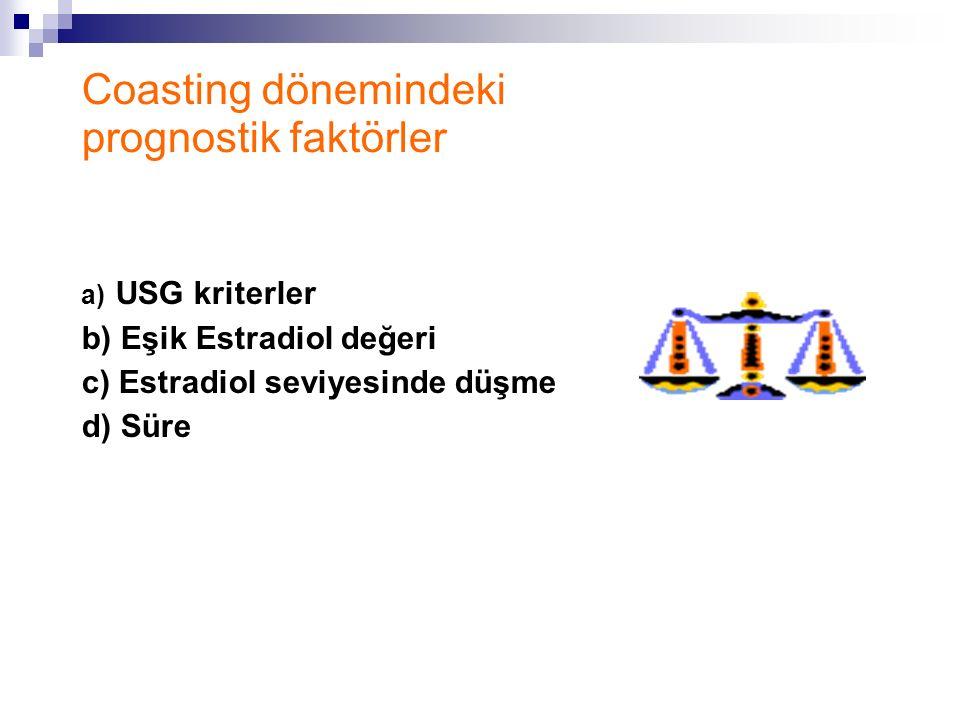 Coasting dönemindeki prognostik faktörler a) USG kriterler b) Eşik Estradiol değeri c) Estradiol seviyesinde düşme d) Süre