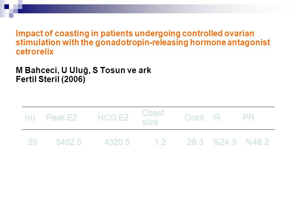 Impact of coasting in patients undergoing controlled ovarian stimulation with the gonadotropin-releasing hormone antagonist cetrorelix M Bahceci, U Uluğ, S Tosun ve ark Fertil Steril (2006) (n)Peak E2HCG E2 Coast süre OositIRPR 295492.54320.51.228.3%24.3%48.2