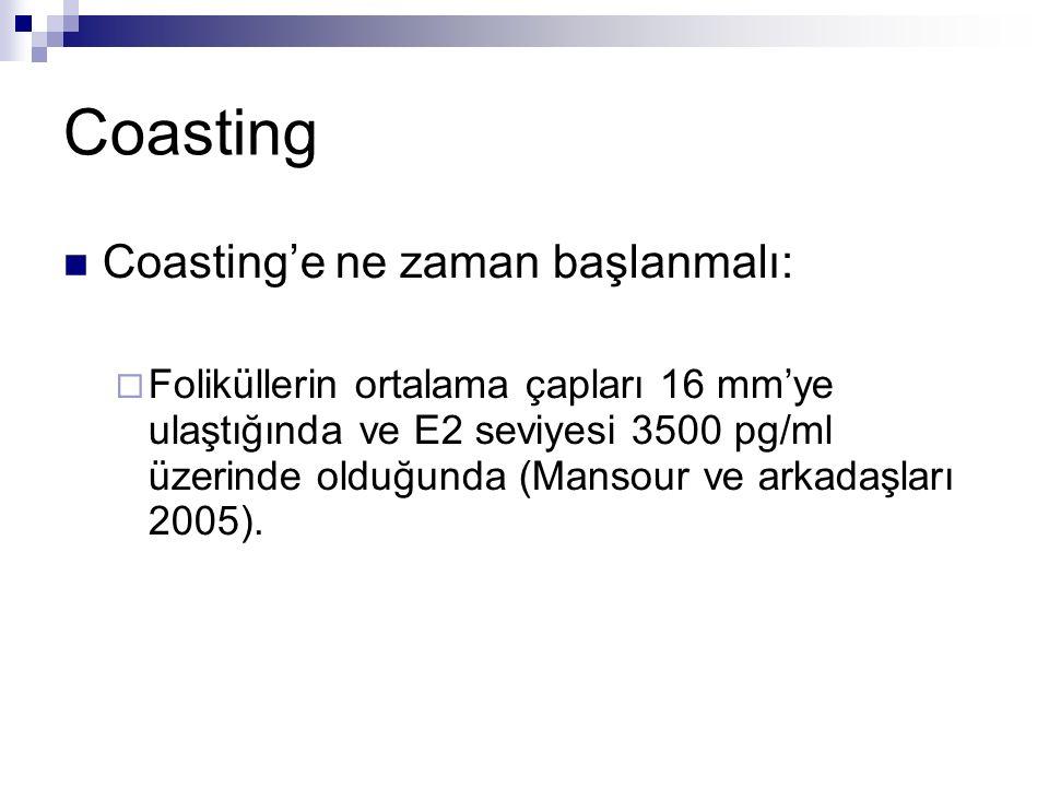 Coasting Coasting'e ne zaman başlanmalı:  Foliküllerin ortalama çapları 16 mm'ye ulaştığında ve E2 seviyesi 3500 pg/ml üzerinde olduğunda (Mansour ve arkadaşları 2005).