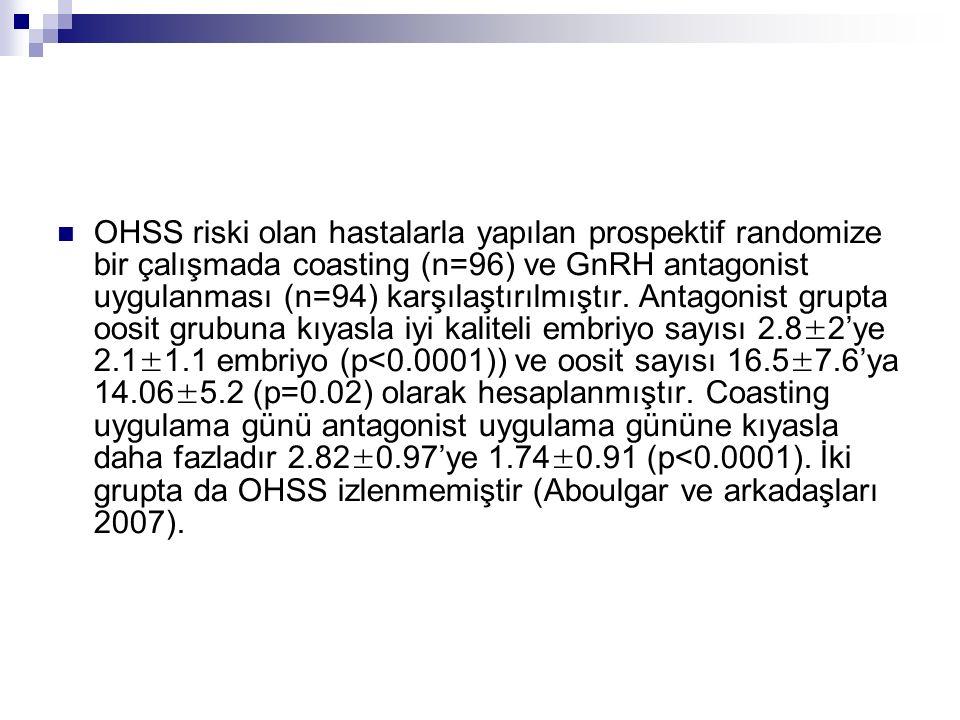 OHSS riski olan hastalarla yapılan prospektif randomize bir çalışmada coasting (n=96) ve GnRH antagonist uygulanması (n=94) karşılaştırılmıştır. Antag