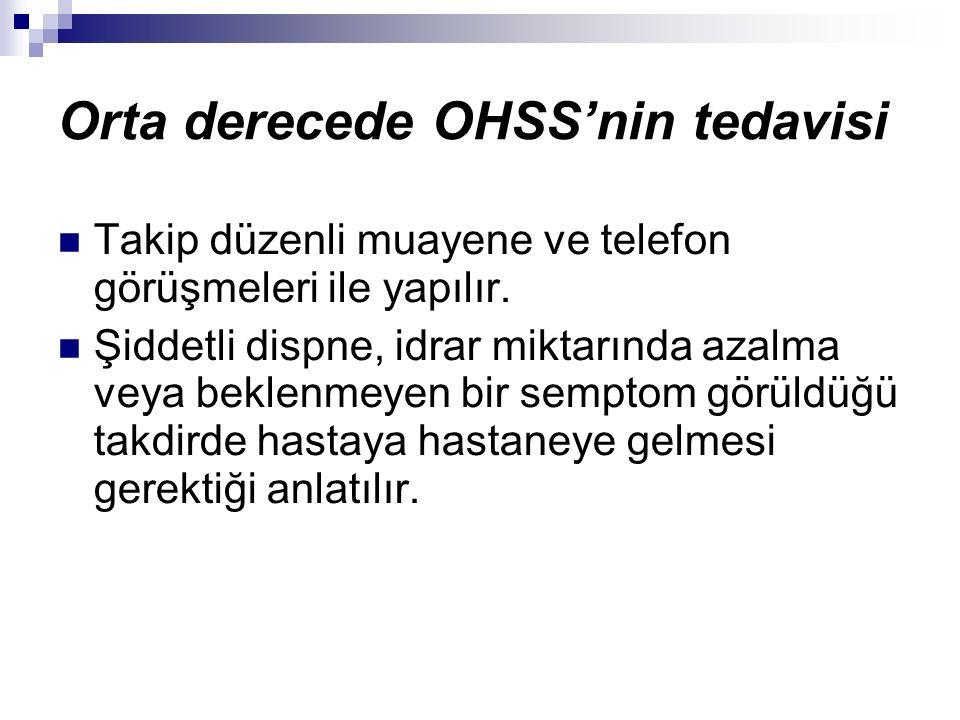 Orta derecede OHSS'nin tedavisi Takip düzenli muayene ve telefon görüşmeleri ile yapılır.