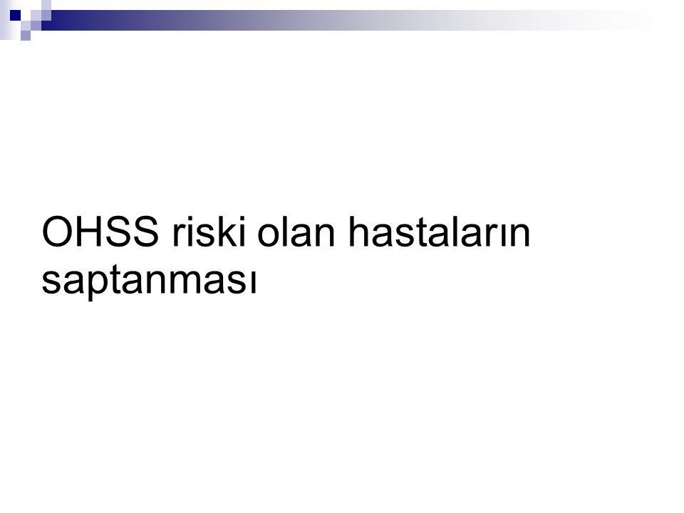 Riskli hastaların ovaryan stimülasyonu öncesi saptanması 1.PCOS 2.PCOS un bağzı özelliğini taşyan olgular *Her overde 10 dan fazla follükül *LH/FSH oranının ikiden büyük olması *Hyperandrogenism *OHSS Hikayesi *Genç Hasta *Zayıf Kadın *Allerjik Predispozisyon