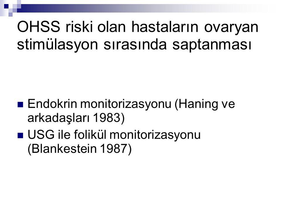 Estradiol seviyesi >6000 pg/ml OHSS risk %80 (Asch ve ark, 1991) OHSS risk %8.8 (Morris ve ark, 1995) Estradiol seviyesi <1000 pg/ml OHSS olgu sunumları (Levy ve ark 1996 (Shimon ve ark 2001) LR: X6.3, peak E2 >2650 (Mathur ve ark 2000)