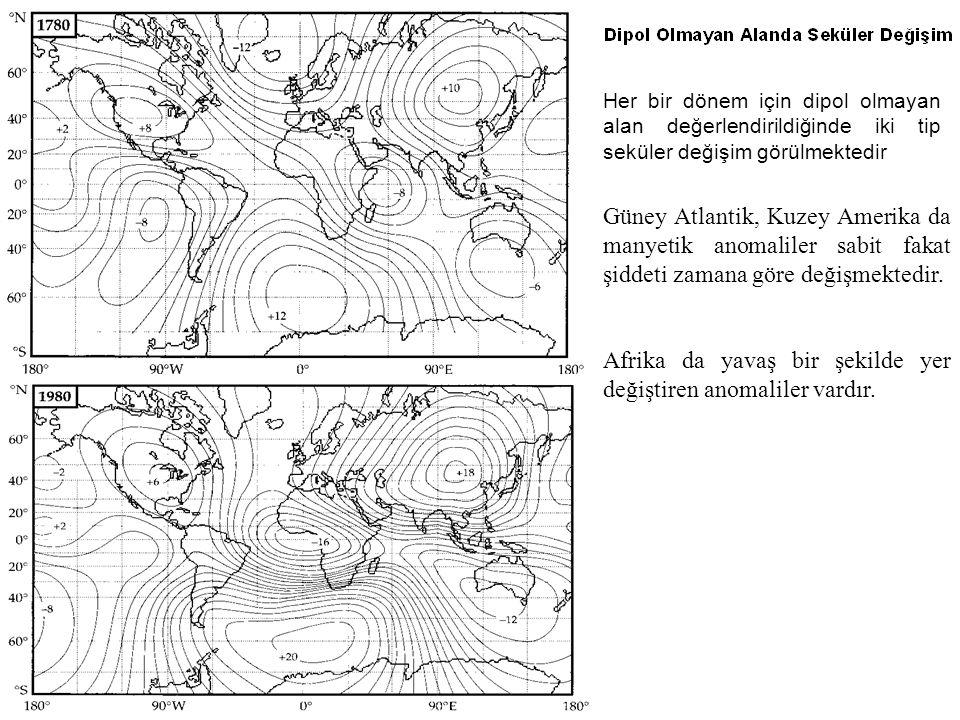 Her bir dönem için dipol olmayan alan değerlendirildiğinde iki tip seküler değişim görülmektedir Güney Atlantik, Kuzey Amerika da manyetik anomaliler sabit fakat şiddeti zamana göre değişmektedir.