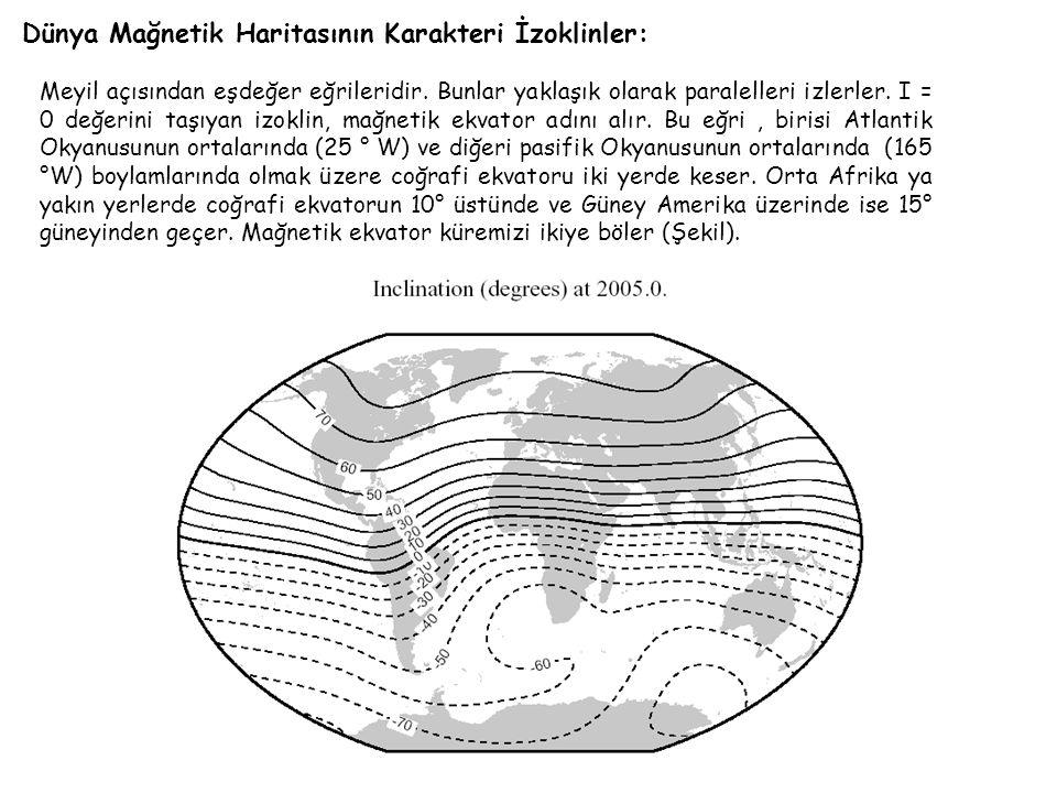 Dünya Mağnetik Haritasının Karakteri İzoklinler: Meyil açısından eşdeğer eğrileridir.
