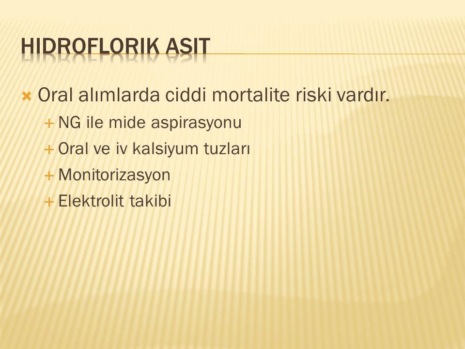  Oral alımlarda ciddi mortalite riski vardır.