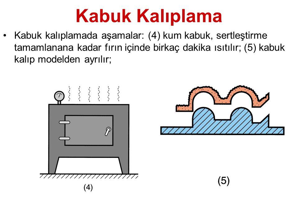 Kabuk Kalıplama Kabuk kalıplamada aşamalar: (6) Kabuk kalıbın iki yarısı, birleştirilir, bir kutu içinde kum veya metal bilyelerle desteklenir ve döküm gerçekleştirilir; (7) Yolluklu bitmiş ürün döküm çıkarılır Kabuklar Metal bilye Derece Kıskaç