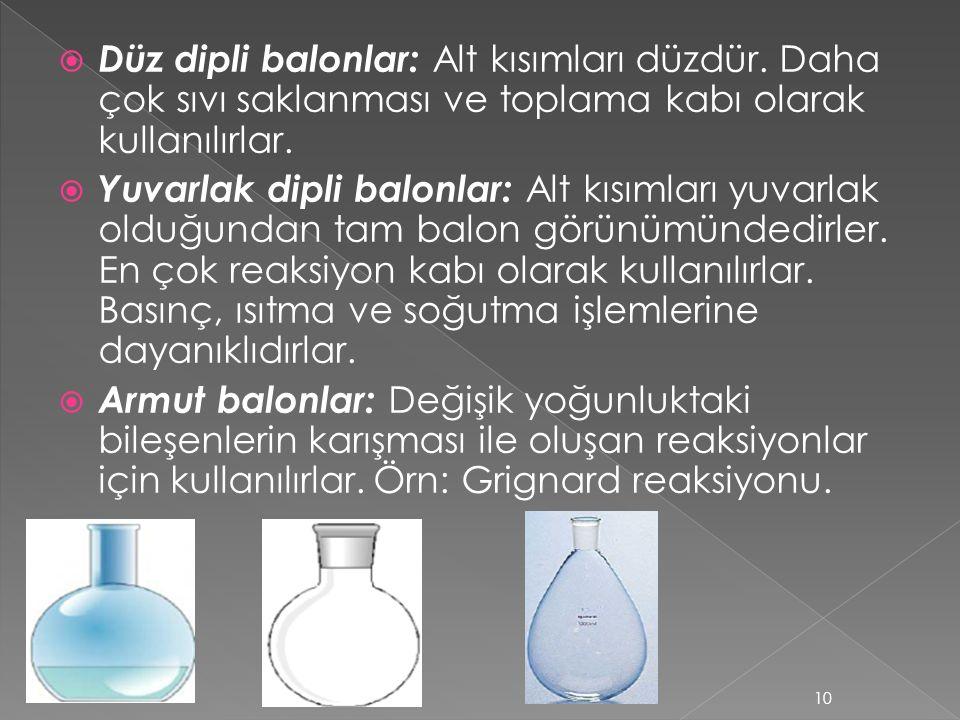  Düz dipli balonlar: Alt kısımları düzdür. Daha çok sıvı saklanması ve toplama kabı olarak kullanılırlar.  Yuvarlak dipli balonlar: Alt kısımları yu