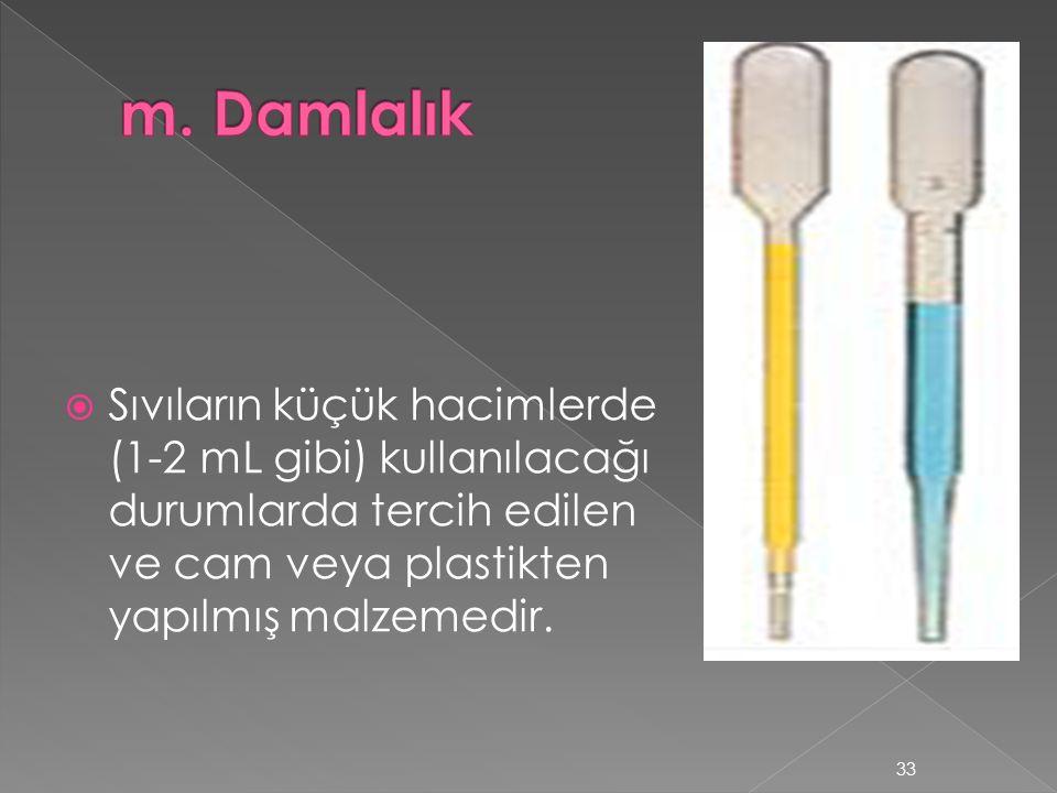  Sıvıların küçük hacimlerde (1-2 mL gibi) kullanılacağı durumlarda tercih edilen ve cam veya plastikten yapılmış malzemedir.
