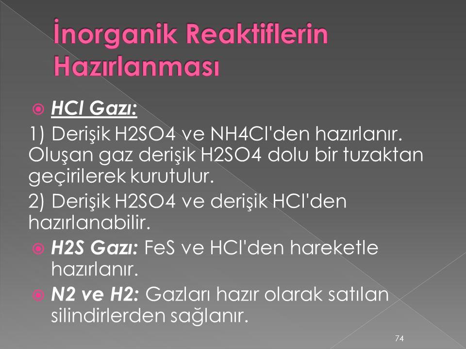  HCl Gazı: 1) Derişik H2SO4 ve NH4Cl'den hazırlanır. Oluşan gaz derişik H2SO4 dolu bir tuzaktan geçirilerek kurutulur. 2) Derişik H2SO4 ve derişik HC
