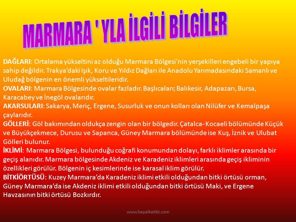 DAĞLARI: Ortalama yükseltini az olduğu Marmara Bölgesi'nin yerşekilleri engebeli bir yapıya sahip değildir.