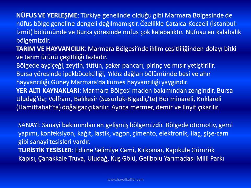 TARIM ve HAYVANCILIK: Marmara bölgesinde farklı iklim özelliklerinin görülmesi, ovalık alanların geniş yer kaplaması, sulama imkanlarının gelişmiş olması bölgede tarımın gelişmesinde etkili olmuştur.