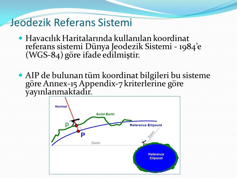 Jeodezik Referans Sistemi Havacılık Haritalarında kullanılan koordinat referans sistemi Dünya Jeodezik Sistemi - 1984'e (WGS-84) göre ifade edilmiştir.