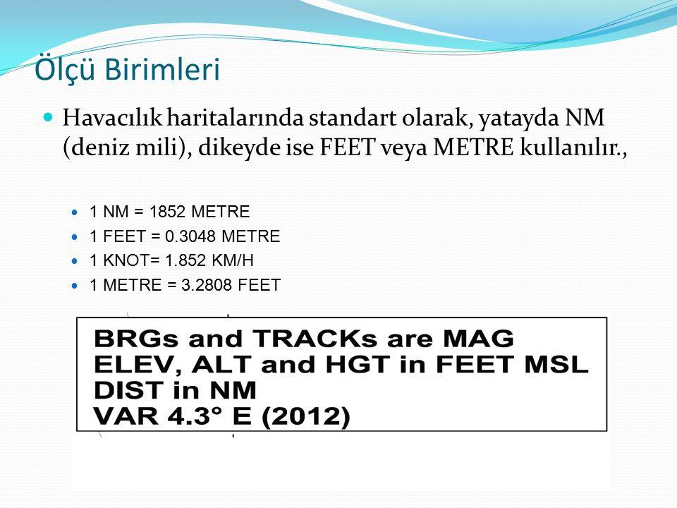 Ölçü Birimleri Havacılık haritalarında standart olarak, yatayda NM (deniz mili), dikeyde ise FEET veya METRE kullanılır., 1 NM = 1852 METRE 1 FEET = 0.3048 METRE 1 KNOT= 1.852 KM/H 1 METRE = 3.2808 FEET