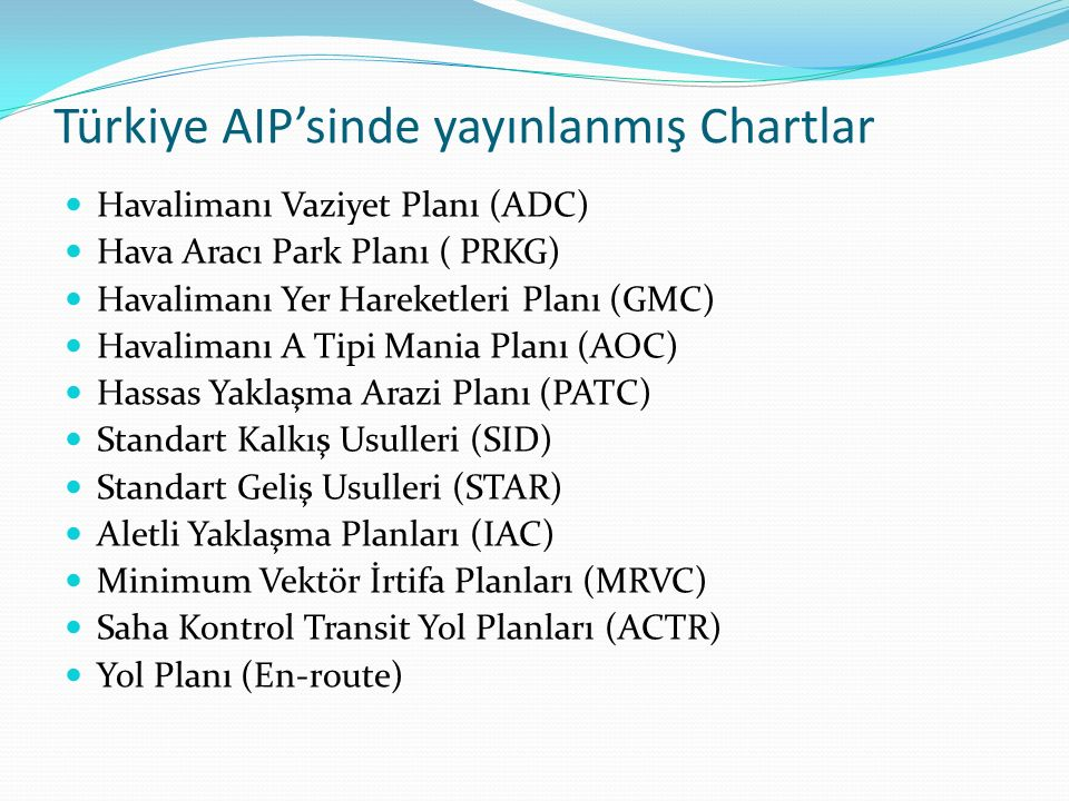 Türkiye AIP'sinde yayınlanmış Chartlar Havalimanı Vaziyet Planı (ADC) Hava Aracı Park Planı ( PRKG) Havalimanı Yer Hareketleri Planı (GMC) Havalimanı A Tipi Mania Planı (AOC) Hassas Yaklaşma Arazi Planı (PATC) Standart Kalkış Usulleri (SID) Standart Geliş Usulleri (STAR) Aletli Yaklaşma Planları (IAC) Minimum Vektör İrtifa Planları (MRVC) Saha Kontrol Transit Yol Planları (ACTR) Yol Planı (En-route)
