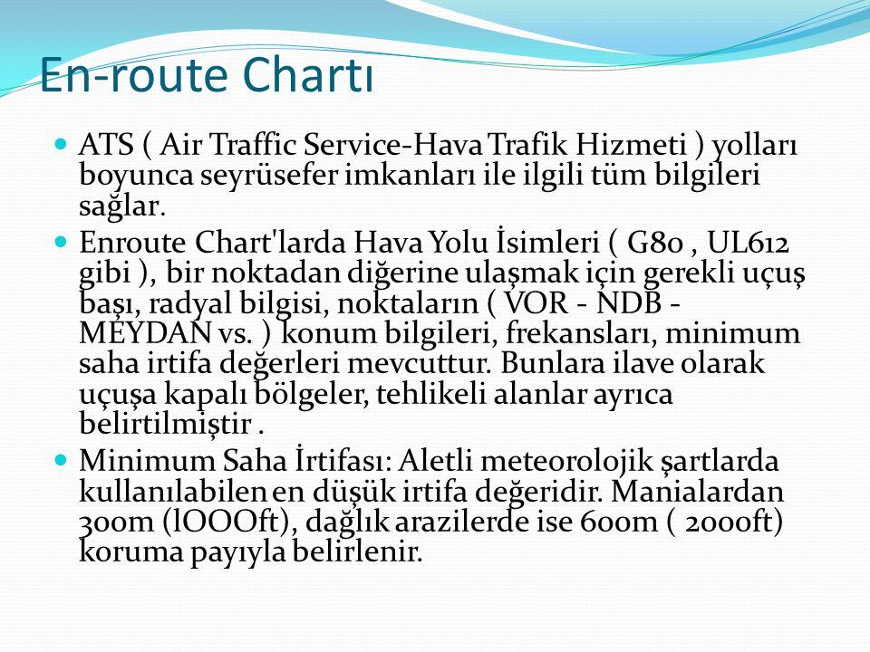 En-route Chartı ATS ( Air Traffic Service-Hava Trafik Hizmeti ) yolları boyunca seyrüsefer imkanları ile ilgili tüm bilgileri sağlar.