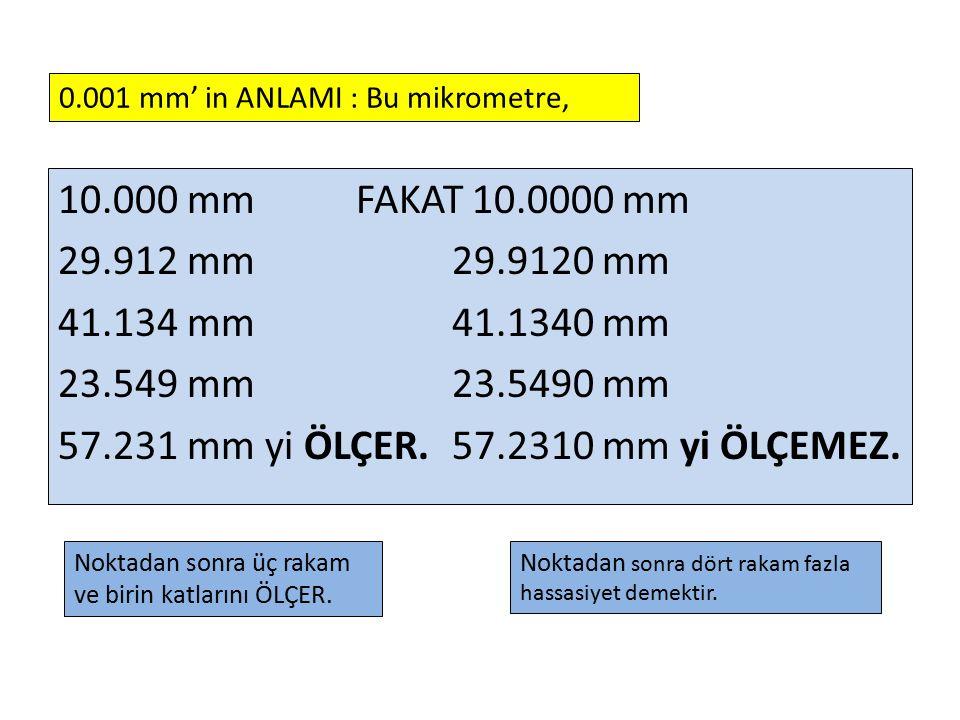 10.000 mm FAKAT 10.0000 mm 29.912 mm 29.9120 mm 41.134 mm 41.1340 mm 23.549 mm 23.5490 mm 57.231 mm yi ÖLÇER. 57.2310 mm yi ÖLÇEMEZ. 0.001 mm' in ANLA