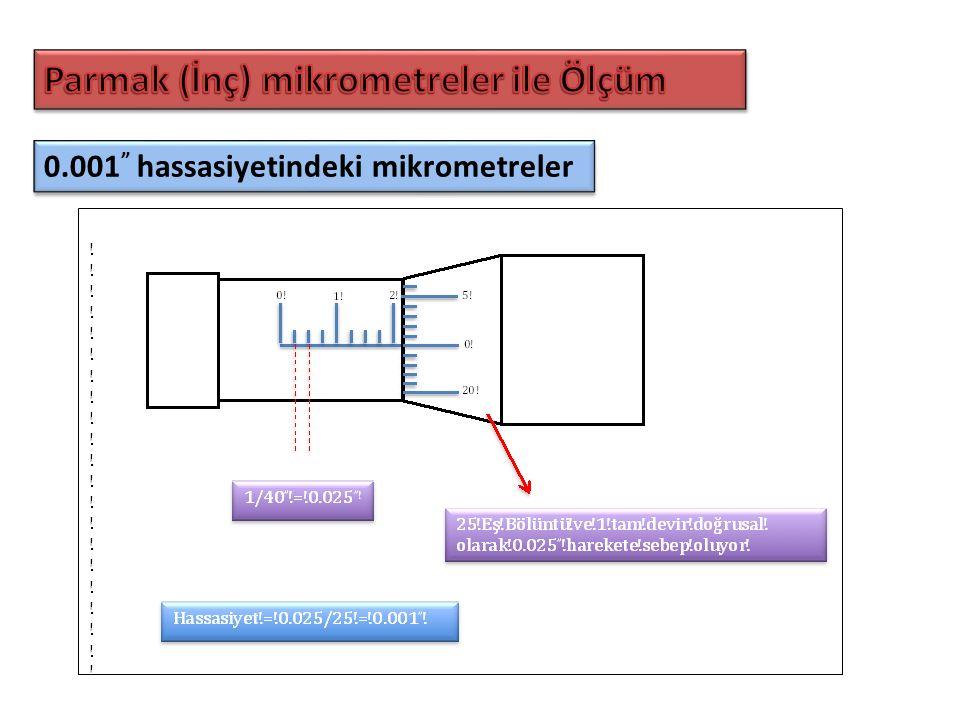 """0.001 """" hassasiyetindeki mikrometreler"""