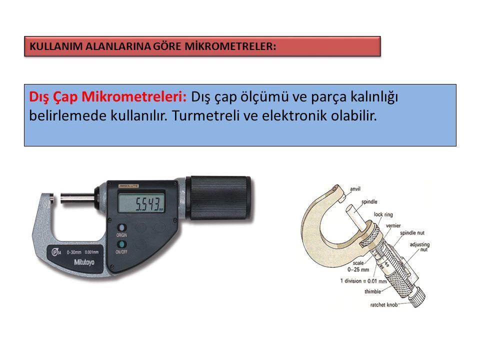 Dış Çap Mikrometreleri: Dış çap ölçümü ve parça kalınlığı belirlemede kullanılır. Turmetreli ve elektronik olabilir. KULLANIM ALANLARINA GÖRE MİKROMET