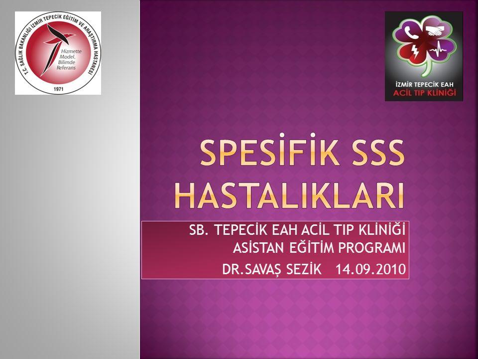 SB. TEPECİK EAH ACİL TIP KLİNİĞİ ASİSTAN EĞİTİM PROGRAMI DR.SAVAŞ SEZİK 14.09.2010
