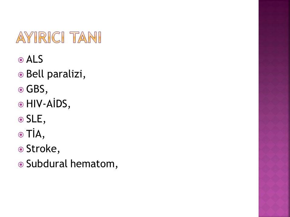  ALS  Bell paralizi,  GBS,  HIV-AİDS,  SLE,  TİA,  Stroke,  Subdural hematom,