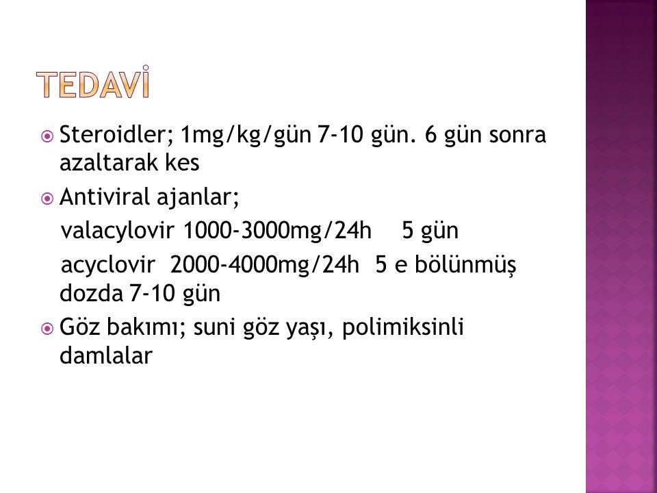  Steroidler; 1mg/kg/gün 7-10 gün.