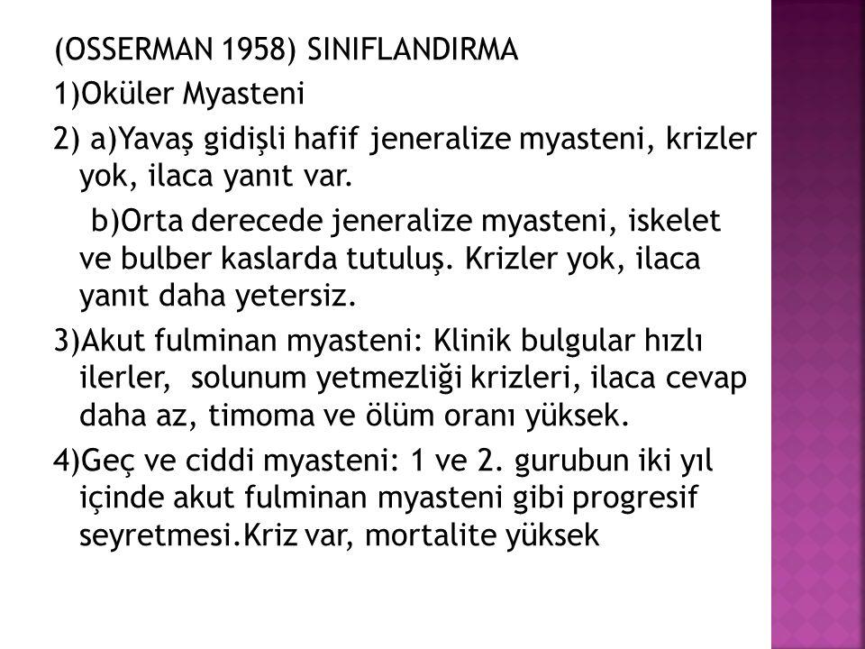 (OSSERMAN 1958) SINIFLANDIRMA 1)Oküler Myasteni 2) a)Yavaş gidişli hafif jeneralize myasteni, krizler yok, ilaca yanıt var.