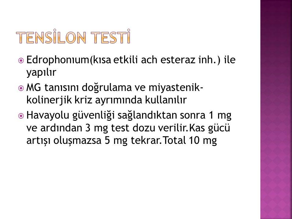  Edrophonıum(kısa etkili ach esteraz inh.) ile yapılır  MG tanısını doğrulama ve miyastenik- kolinerjik kriz ayrımında kullanılır  Havayolu güvenliği sağlandıktan sonra 1 mg ve ardından 3 mg test dozu verilir.Kas gücü artışı oluşmazsa 5 mg tekrar.Total 10 mg
