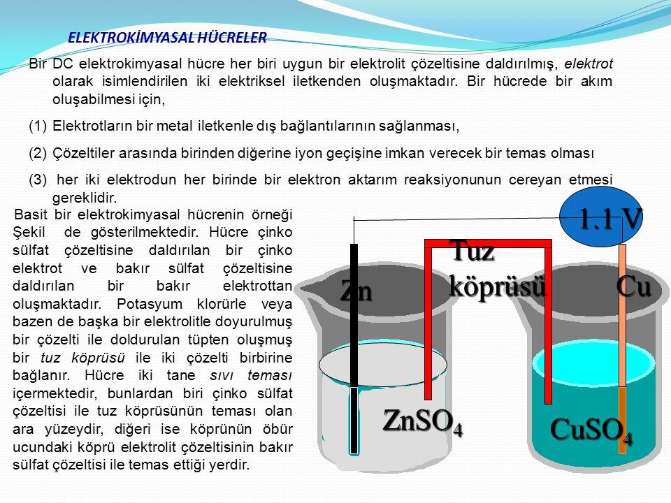 ELEKTROKİMYASAL HÜCRELER ZnSO 4 CuSO 4 Zn Cu Tuz köprüsü 1.1 V Bir DC elektrokimyasal hücre her biri uygun bir elektrolit çözeltisine daldırılmış, ele