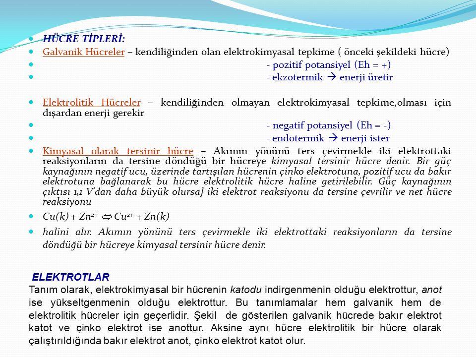 HÜCRE TİPLERİ: Galvanik Hücreler – kendiliğinden olan elektrokimyasal tepkime ( önceki şekildeki hücre) - pozitif potansiyel (Eh = +) - ekzotermik  e