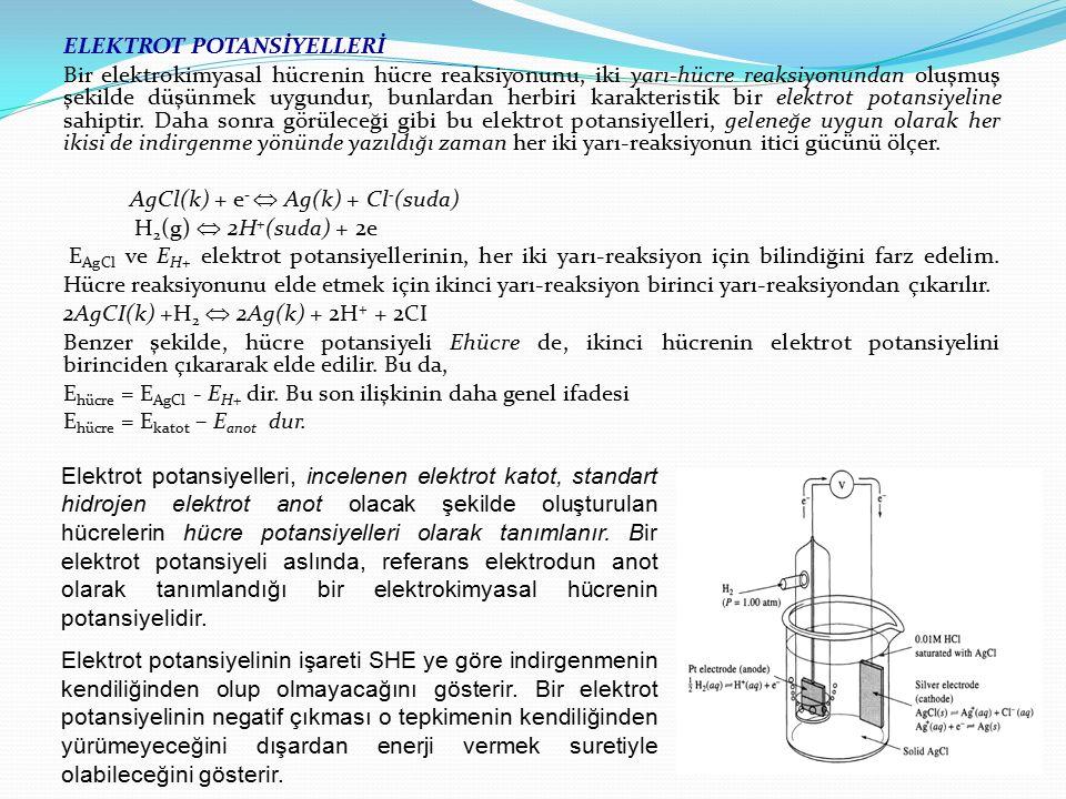 ELEKTROT POTANSİYELLERİ Bir elektrokimyasal hücrenin hücre reaksiyonunu, iki yarı-hücre reaksiyonundan oluşmuş şekilde düşünmek uygundur, bunlardan he
