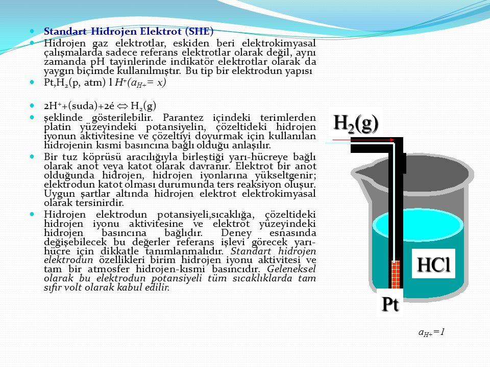 HCl Pt H 2 (g) Standart Hidrojen Elektrot (SHE) Hidrojen gaz elektrotlar, eskiden beri elektrokimyasal çalışmalarda sadece referans elektrotlar olarak