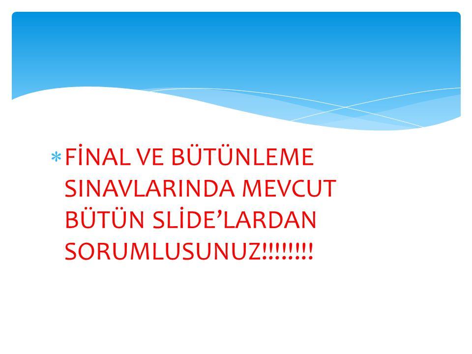  FİNAL VE BÜTÜNLEME SINAVLARINDA MEVCUT BÜTÜN SLİDE'LARDAN SORUMLUSUNUZ!!!!!!!!