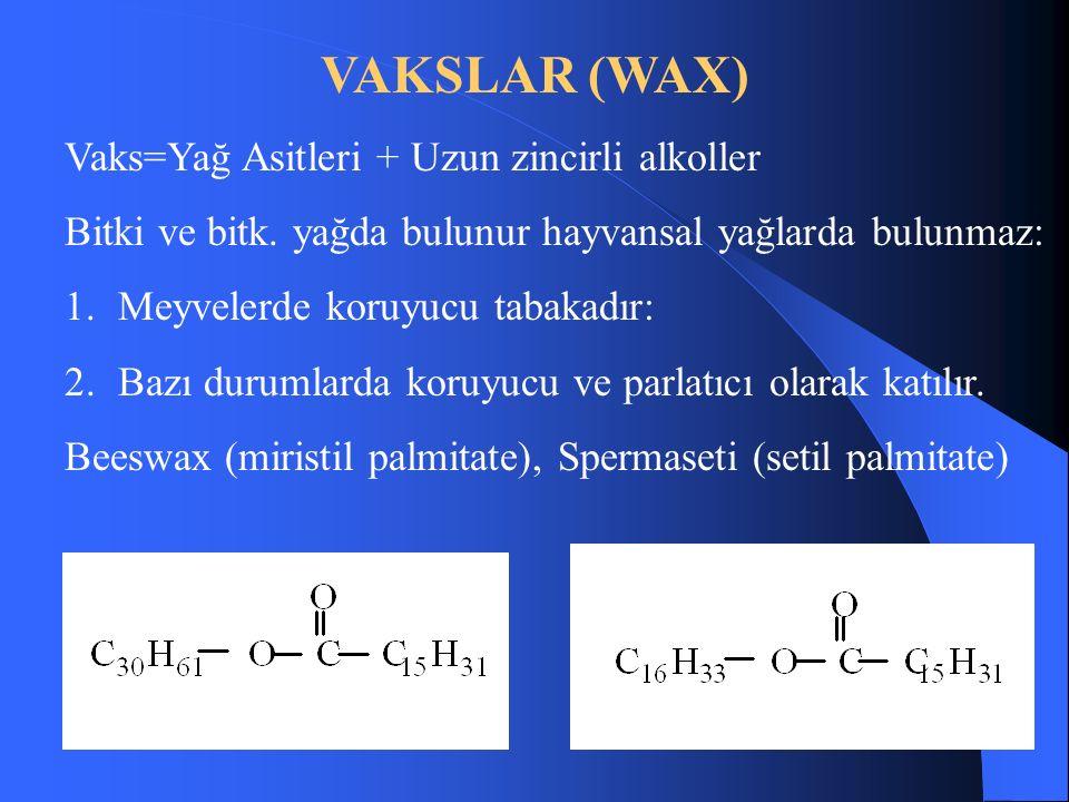 VAKSLAR (WAX) Vaks=Yağ Asitleri + Uzun zincirli alkoller Bitki ve bitk.