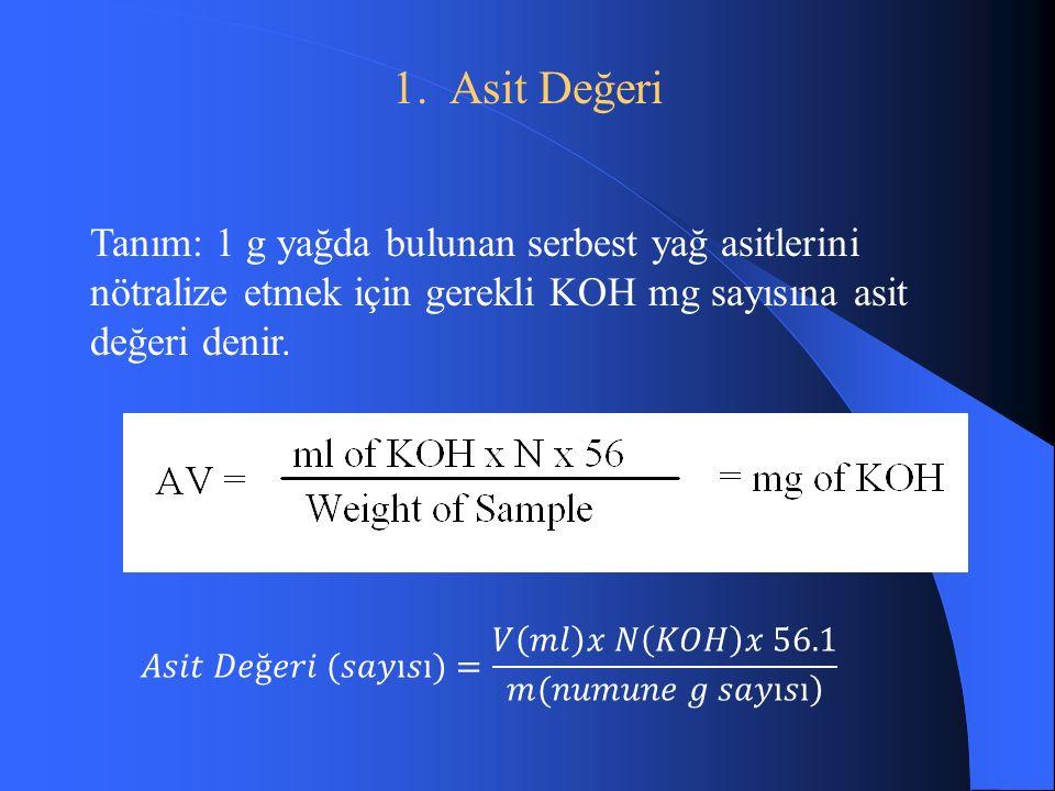 1. Asit Değeri Tanım: 1 g yağda bulunan serbest yağ asitlerini nötralize etmek için gerekli KOH mg sayısına asit değeri denir.